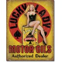 Plaque metal decorative lucky lady motor oils